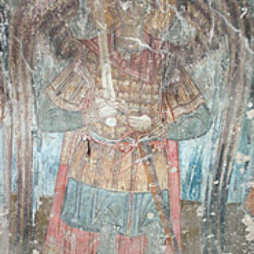 14th c. frescoes of Ag. Demetrios threatened by fires, Makrychori
