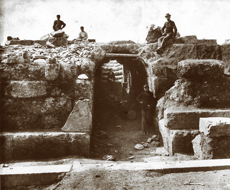 First tourists in the Theater of Eretria, shortly after its excavation by the American School in the late nineteenth