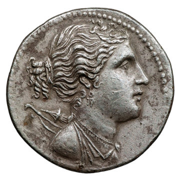 Artemis on a tetradrachm of Eretria