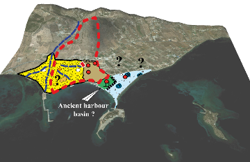 Paleogeographic reconstruction of ancient Eretria (850-27 BC). Extract from M. Ghilardi et al., Mid- to Late Holocene shoreline reconstruction and human occupation in Ancient Eretria (South Central Euboea, Greece). Geomorphology 208 (2014) 225-237.