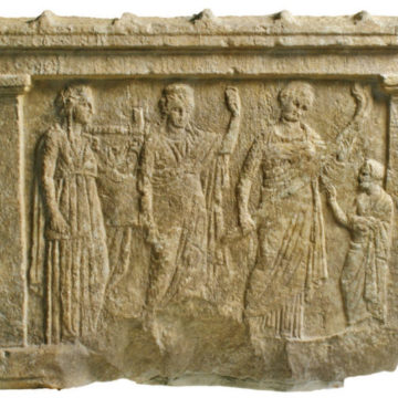 Votive relief of Apollo, Leto and Artemis